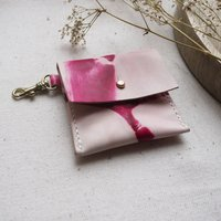 Tiny Leather Coin Purse Keyring