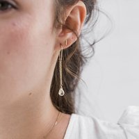 Quartz Drop Threader Earrings