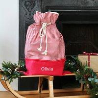 Luxury Personalised Gingham Check Christmas Santa Sack