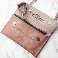 Personalised Leather Clutch Bag, Black/Pink/Grey
