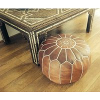 Moroccan Leather Pouffe Tan Filled