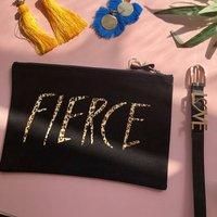 Personalised Fierce Leopard Print Make Up Bag, Cream/Black