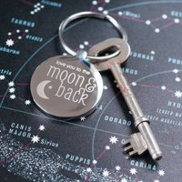 Personalised Moon And Back Keyring, silver