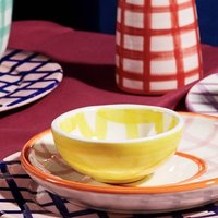 Dip Me Small Bowl White And Yellow Gingham