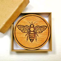 Wooden Drinks Coasters With Manchester Bee Design
