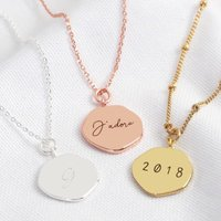 Personalised Engraved Organic Shape Charm Necklace