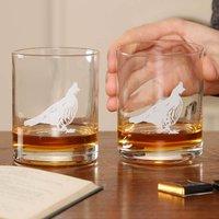Set Of Four Highland Pheasant Glass Tumblers