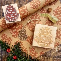 Christmas Pinecone Rubber Stamp