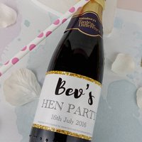 Personalised Hen Party Mini Champagne Labels X10