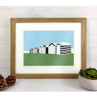 Beach Huts Print, Black/White/Blue