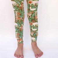 "Moss Green ""Animal Menagerie"" Organic Cotton Leggings"