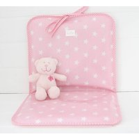 Personalised Wipe Clean Oilcloth Changing Mat, Pink/Pale Blue/Blue