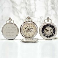 Personalised Pocket Watch Silver Black Numerals, Silver