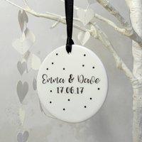 Personalised Couple Anniversary Ceramic Decoration, Pink/Grey/Black