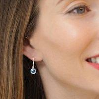 Birthstone Gemstone Hook Earrings In Sterling Silver, Silver
