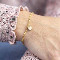 Gold Heart Charm Bracelet, Gold