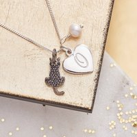 Cat Charm Personalised Silver Necklace With Birthstones, Silver