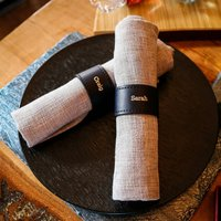 Set Of Four Navy Personalised Leather Napkin Rings