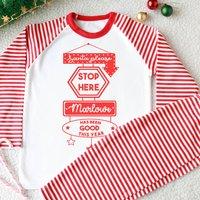Personalised Santa Sign Kid's Christmas Pyjamas