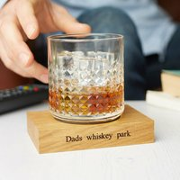 Personalised Wooden Whiskey Coaster With Leather