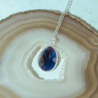 Precious Lavender Iolite Gemstone Silver Necklace, Silver