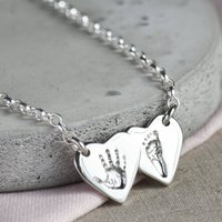 Personalised Handprint Double Heart Necklace