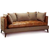 Portland Three Seater Sofa Leather And Thorn Tweed