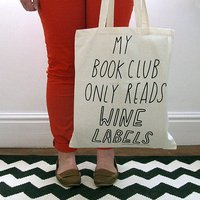 My Book Club Only Read Wine Labels Canvas Tote Bag