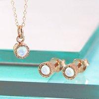 Rose Gold Opal October Birthstone Jewellery Set, Gold