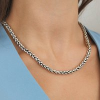 Solid Sterling Silver Rope Statement Necklace, Silver