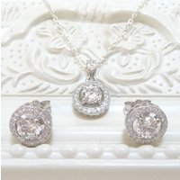 Cubic Zirconia Earring And Necklace Set