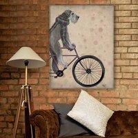 Grey Schnauzer On Bicycle Art Print