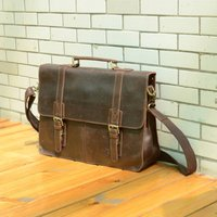 Worn Look Genuine Leather Briefcase