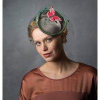 Green Birdcage Veil Butterfly Hat