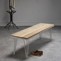 Whitewashed Oak Bench With Matching Steel Hairpin Legs