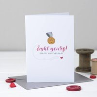 Eighth Wedding Anniversary Card Bronze