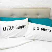 Easter 'Big Bunny/Little Bunny' Pillow Case Set, White/Gold/Black