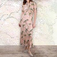 1940s Style Longline Dress In Cloudpine Print Silk