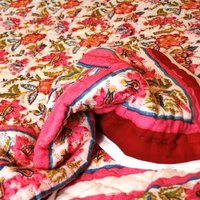 Hibiscus Hand Block Printed Double King Cotton Quilt