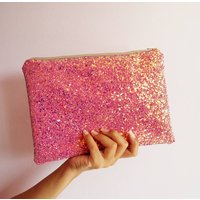 Sparkly Glitter Clutch Bag, Purple/Glitter/Green