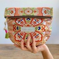 Metallic Apricot Vintage Kimono Clutch Bag
