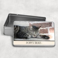 Personalised Photo Cat Treat Biscuit Tin
