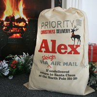 Personalised Priority Delivery Christmas Sack