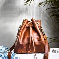 Personalised Leather Bucket Bag Drawstring Handbag