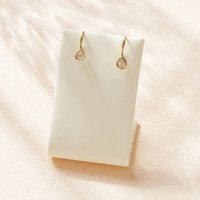 Single Diamond Slice Gold Earrings, Gold
