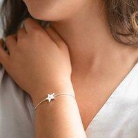 Personalised Initial Star Slider Bracelet, Silver/Rose Gold/Rose