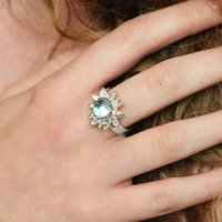 Silver Sunflower Ring With Blue Topaz, Silver