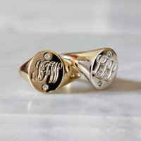 Initials And Diamonds Signet Ring Gold/Silver, Silver