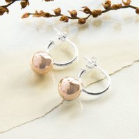 Rose Gold Plated Sterling Silver Ball Hoop Earrings, Silver