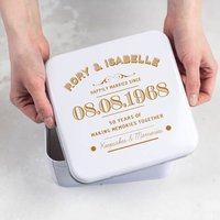 Personalised 50th Golden Anniversary Tin, Blue/Spring Green/Green